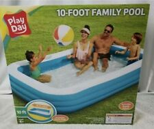 "Play Day Inflatable 10 Foot Rectangular Family Pool 120""x72""x22"" New"
