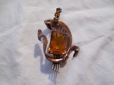 Corocraft Pegasus sterling silver w/large citine amber stone, brooch signed