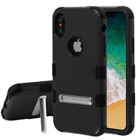 Apple iPhone X XS Shockproof Hybrid Armor Rubber Rugged Case Cover Stand BLACK