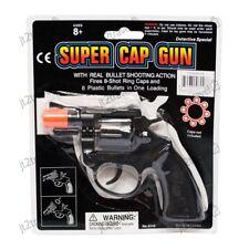 8 Ring Shot Cap Gun Police Series Pistol Revolver Black New Toy Replica New