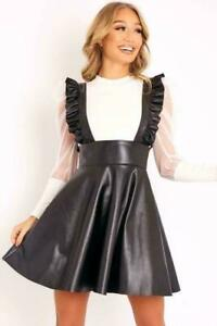 Ladies Black Faux Leather Frill Pinafore Dress Frill Straps Flared Skater Skirt