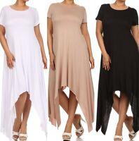 Plus Dress Maxi Asymmetrical 1X 2X 3X Short Sleeve Flowly Women Shark Bite