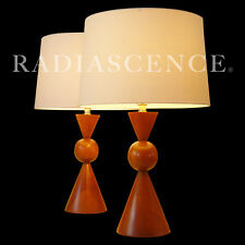 ATOMIC MODERN GEOMETRIC SCULPTURE WALNUT TABLE LAMPS PHILLIP LLOYD POWELL 1950'S