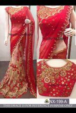 LATEST INDIAN DESIGNER PAKISTANI RED BRIDAL SARI WEDDING SAREE ETHNIC WEAR