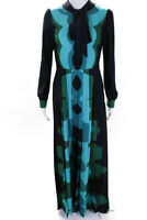 Mary Katrantzou Womens Pleated Duritz Printed Maxi Dress Blue Size 10