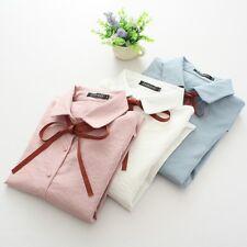 Women Girls Polo Shirt Chiffon Business Formal Bowknot Tie Solid Tops Blouse Tee