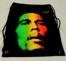 Bob Marley Drawstring Black Backpack with Bobs Face Rainbow