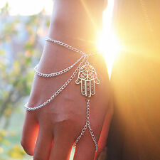 Hamsa Fatima Bracelet Finger Ring Slave Chain Hand Harness Bangle Gift Xmas UK