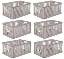 6 x Robusto-Boîte Panier 64 L Gris Boîte de conservation caisse transport