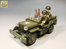 WW2 Willy Mb Jeep brick set + US Minifigures + Rifles | Fit Lego