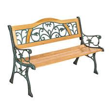 Banc mobilier meuble de jardin parc terrasse en bois et fonte 124cm neuf