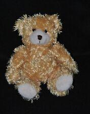 Peluche doudou ours CMP beige caramel blanc yeux durs 12 cm assis TTBE