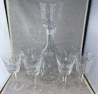 """Vintage Waterford Crystal Lismore  DECANTER and 6 CLARET WINE GLASS 5 7/8"""" EUC"""
