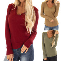 Fashion Women's V-neck Long Sleeve Solid Blouse Shirt Elastic Pullover Tops HY