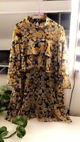 Zara Pleated Dress With Ruffles Cape Floral Size L Mini Boho