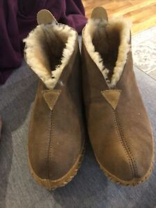 LL BEAN Men's Brown Suede Wicked Good Lined Boot Slippers Size 11