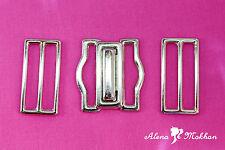 Silver Tuxedo Cummerbund Buckle 3 Piece Metal Set - Tuxedo Interlock Buckle