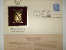 Stamp, 100th Anniversary, First Day of Issue, Statue of Liberty Gold Stamp.