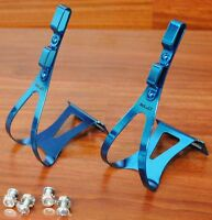 Road Bike Steel Toe Clips/Cages Blue Anodized Medium