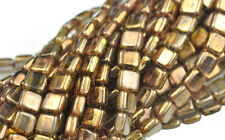 50 Trans Gold Luster 2 Hole Czech Glass Flat Square Beads 6MM