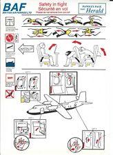 Safety Card - British Air Ferries BAF - Handley Page Dart Herald (S3980)