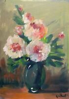 Print oF original oil painting Vase of flowers impressionism shabby chic decor