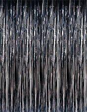 Black Metallic Fringe Curtain Party Room Decor 3' x 8'