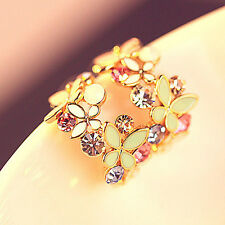 1 Pair Fashion Women Lady Elegant Crystal Rhinestone Ear Stud Earrings Flower