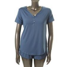 Famous Brand 7179 Womens Blue Jersey Satin Trim 2PC Pajama Set Plus 2X BHFO