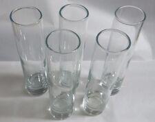 Set of 5 Vintage Tall Cylinder Pilsner Heavy Glass Bottom Glasses