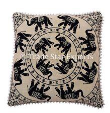 """Large 26"""" Elephant Euro Sham Decorative Mandala Cushion Cover Hippie Pillow Case"""