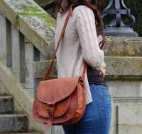 Women Purse Vintage Genuine Brown Leather Cross Body Shoulder Handmade bag