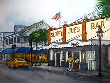 Watercolor Painting Key West Island Street Sloppy Joes Bar Palm Tree Art 5x7 .
