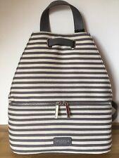 Modalu Grey Stripe Canvas Backpack 'Harriet' BNWT