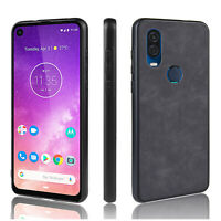 Leather Back Cover TPU PC Case Shell for Motorola Moto One Vision Smart Phone