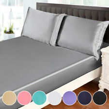 3Pcs Silky Soft Luxury Satin Bed Sheet & Pillowcase Set Deep Pocket Fitted Sheet