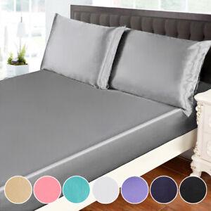 3Pcs Soft Luxury Silk Satin Bed Sheet & Pillowcase Set Deep Pocket Fitted Sheet