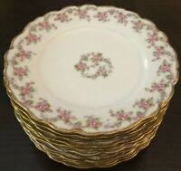 ANTIQUE BAWO & DOTTER ELITE WORKS LIMOGES FRANCE BRIDAL WREATH 3 Salad Plates(s)