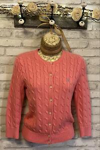 Vintage ~Ralph Lauren~ Pink Cable Knit 100% Cotton Cardigan Sweater Size XS / S