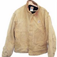 T88 Vintage Carhartt Chore Jacket Duck Brown Denim Men's Fleece Lined Size 48