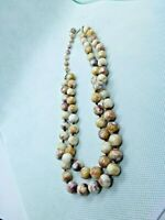 ART DECO NECKLACE FAUX SCOTTISH AGATE MURANO GLASS BEADS KNOTTED DOUBLE STAND