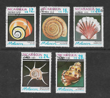 NICARAGUA USED STAMP 1988 AIR MAIL ISSUE - SHELLS - SET OF 5 DIFFERENT STAMPS