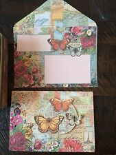 PUNCH STUDIO~ BUTTERFLIES~ PARIS~BLANK NOTE CARDS~EMBELLISHED~8~LOVELY!