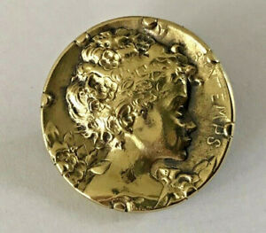 25mm Beautiful Antique brass picture button~Pretty Woman's profile~PRINTEMPS