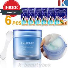 LANEIGE Water Sleeping Pack 70ml+Collagen Facial Mask Sheet 6PCS .Korea Cosmetic