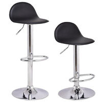 Set of 2 Swivel Bar Stools Modern Adjustable Height Diner Seat Chairs Black
