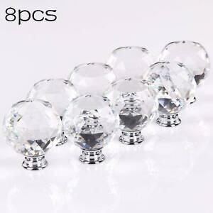 8X Crystal Door Knobs Diamond Glass Clear Cabinet Drawer Wardrobe Handle