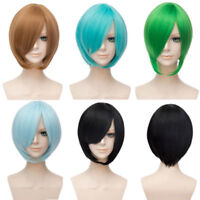 30CM Short Blue Red Gold Black Straight Hair Fashion Party Bob Wigs Cosplay