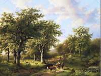 PAINTING LANDSCAPE KOEKKOEK HERDSMEN WITH CATTLE FOREST ART PRINT POSTER LAH075