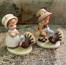 Lefton Thanksgiving pilgrim turkey boy girl small figurine set #03713 1983
